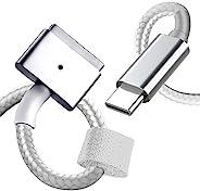 USB C 磁性充电器电缆。高级编织 USB C 电缆 5 英尺(1.5 米)带魔术贴领带和 eMark 芯片。兼容各种 MacBook Air/Pro 型号。纽约制造。