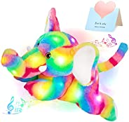 Glow Guards 音乐 LED 彩虹大象发光填充动物带夜灯摇篮曲野生动物毛绒玩具唱生日幼儿儿童,17 英寸
