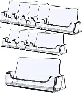 Bayou 显示器 - 透明亚克力名片夹展示办公室名片夹名片支架名片桌支架,适合 30-50 张名片(10 张装)