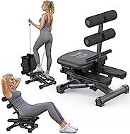 BESVIL 步进式腹部机折叠可调节健身机,带阻力带和 LCD 显示器步进健身机,黑色