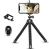 手機三腳架,便攜式和可擴展相機三腳架支架,帶無線遙控器,360°旋轉可調節靈活手機三腳架,兼容 iPhone Android...
