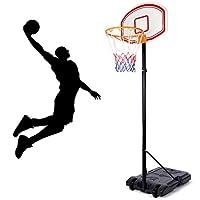 amzdeal 篮球系统高度可调节便携式篮板系统支架目标篮球设备带篮板和轮子适合青少年成人家庭室内室外使用