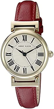 Anne Klein AK / 2246CRRD 女士皮革表带手表,Red/Gold