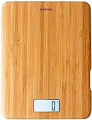 Salter Eco Bamboo 可充电数字厨房秤 – 可持续制作、环保电子秤、添加和称重功能、Aquatronic 功能、背光液晶显示屏、公制/英制测量