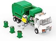 垃圾卡车建筑玩具,垃圾车积木,带 3 个垃圾桶,卫生卡车建筑套装(379 件)