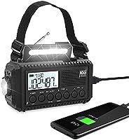 5000 mAh 太阳能紧急天气警报收音机,便携式手摇曲柄 AM / FM / 短波 NOAA 收音机,适用于生存,电池备用,阅读灯,手电筒,耳机插孔,手机充电器,SOS,LCD 显示屏