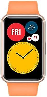 HUAWEI WATCH FIT 智能手表,1.6 英寸生动的 AMOLED 显示屏,10 天的电池寿命,内置 GPS,5ATM,氧饱和度检测,心率监测,*监测,橘黄色