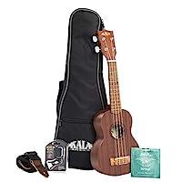 Kala Satin 紅褐色尤克里里里琴,帶袋、綁帶、琴弦和調音器KA-15S-BNDL 高音
