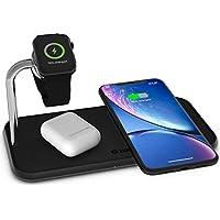 ZENS Qi 认证的无线铝制充电垫ZEDC05B/00  Für zwei Geräte + eine Apple Watch 黑色