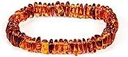 AMBERAGE 天然波罗的海琥珀手链成人(女士/男士) - 采用抛光/认证波罗的海琥珀珠手工制作(2 种颜色)