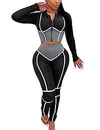 SUCCIOR 女式拼色运动服俱乐部打底裤套装 2 件套条纹套装