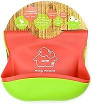2 件装超柔软硅胶婴儿断奶围兜 Jump Baby Messy Monster 出品(1 件红色,1 件柠檬*围兜)防水带宽敞的碎屑收集器适合婴儿和幼儿