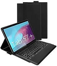 蓝牙背光键盘保护套适用于三星 Galaxy Tab S7 Plus 12.4 英寸 2020 (SM-T970/T975/T976),Jelly Comb 无线分离键盘保护套带 7 色背光和保护套,黑色