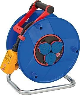 Brennenstuhl 1208510 Garant Bretec FI IP44 电缆鼓(25 米电缆,黑色,带保护插头,适用于室外,德国制造),蓝色