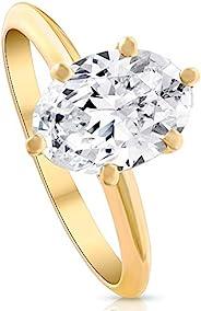 H/SI1 2.32 克拉认证椭圆形实验室生长钻石单粒订婚戒指 14k 金 - 尺寸 6