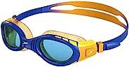 Speedo 男女通用 Futura Biofuse Flexiseal 青少年泳镜,美丽蓝色/芒果色/蓝色,均码