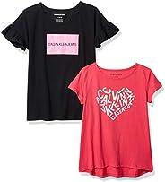 Calvin Klein 女童 2 件装短袖图形标志 T 恤