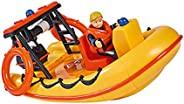 Simba 109251047 消防员山姆 海王星救生艇,带有穿救生衣的Penny人偶,带有秘密隔层和机械绞车,可漂浮,20cm,适用于3岁以上儿童