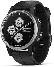 garmin fēnix 5s plus - 紧凑型多功能运动智能手表,音乐、GPS 和 garmin pay - 银色带黑带,010-01987-20