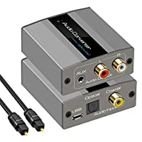 数字到模拟音频转换器 192kHz DAC 转换器光纤到 RCA 带光纤电缆数字 SPDIF 光纤同轴至立体声 L/R 和 3.5 毫米插孔,适用于 PS4 Xbox HDTV DVD 耳机