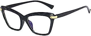 PHABULS 女士男士蓝色阻光眼镜 复古圆形透明镜片 眼镜