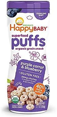 Happy Baby Superfood 泡芙紫色胡萝卜和蓝莓,2.1 盎司(约 59.5 克)(6包)婴儿或幼儿零食,水果和蔬菜零食(包装外表可能会变化)