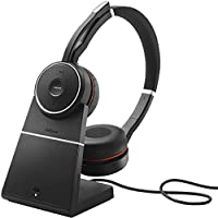 Jabra Evolve 立體聲 MS 頭戴式耳機,包括連接件7599-832-199 Jabra Evolve 75 Stereo MS, Charging stand & Link 370 黑色