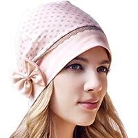 琳达妈咪 新款 韩版圆点蝴蝶结防头风孕妇帽 产妇帽 月子帽 浅粉色 灰点点