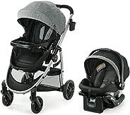 Graco 葛莱 Modes Pramette 旅行系统   包括真实摇篮模式的婴儿推车,可翻转座椅,单手折叠,额外存储,儿童托盘和 SnugRide 35 婴儿汽车座椅,Ellington