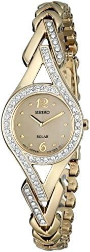 Seiko 女式 SUP176 施华洛世奇水晶装饰不锈钢太阳表