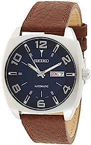 Seiko 精工 男士SNKN37不锈钢自动上发条手表,带有棕色皮革表带