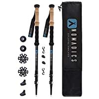 Nomadics 碳纖維登山杖 - 超輕、重型防震遠足棒,帶軟木握把手 - 可調節范圍從 24 英寸到 54 英寸 - 旅行包和可更換支腳