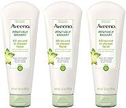 Aveeno 艾惟诺 Positively Radiant 60秒急救淋浴面膜,提亮面膜,含大豆,柠檬皮提取物,乙醇酸和高岭土,5盎司/141克(3件装)