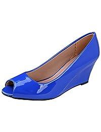 Forever Link 女式 Peep Toe 一脚蹬坡跟鞋 8 B(M) 美国 蓝色