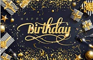 OKDEALS 生日快乐背景横幅   70.8 x 43.3 英寸超大面料黑色金色照片背景横幅   生日派对背景横幅装饰