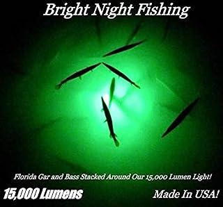 15,000 流明 50 英尺(约 15.2 米)线缆 防水 AC 水下钓鱼灯 * LED 潜水式码头灯,
