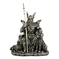 Ebros Gift Norse Viking Mythology Odin The Alfather Sitting On A Throne with Two Wolf Dogs 雕像 Norselandic Folklore 雷神 Ragnarok 三部曲假发装饰雕像 26.67 cm 高