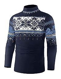 poriff 男式休闲修身基本款针织保暖高领套头毛衣