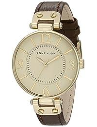 Anne Klein 109168IVBN 圆形表盘皮革表带手表,棕色