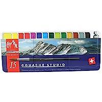 Caran d´Ache Caran Dache水粉画套装,Gouche糕点刷,金属盒,完整的绘画包装 15件套