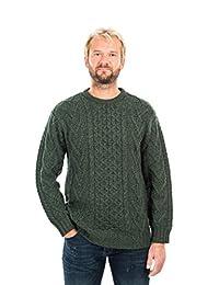 SAOL * 爱尔兰美利奴羊毛男式传统阿兰圆领绞花针织毛衣套衫