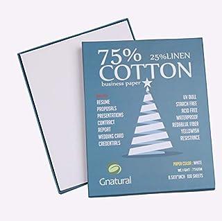 75% 棉 25% 亚麻纸,75gsm 喷墨打印纸,21.59cm x 27.94cm 白色复写纸,100张带隐形纤维(75gsm,白色)