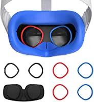 AMVR VR 硅胶面罩和镜片防刮环保护近视眼镜免受刮伤 VR 镜片,适用于 Oculus Quest 2,防汗防水防污替换3合1配件(蓝色)