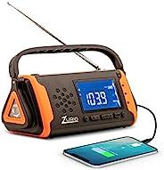 带 NOAA 天气报警的应急收音机 – 手摇和太阳能供电 AM FM 生存无线电带手电筒、手机充电器和带电池备份的 SOS 报警 - 包括赠送的生存口哨