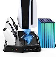 垂直冷却风扇支架适用于 PS5 双充电站,适用于 Playstation 5 控制器 DualSense 控制台底座,带 LED 指示灯和 14 个游戏插槽