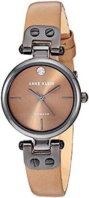 Anne Klein Women's Genuine Diamond Dial Gunmetal and Cream Leather Strap W