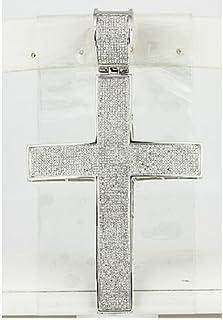 Dazzlingrock 系列 3.00 克拉 (ctw) 微镶白色钻石男士嘻哈宗教十字架吊坠,纯银