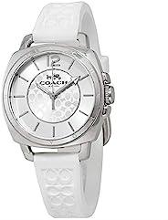 Coach 蔻驰女式 14503146 迷你男友朋友签名白色硅胶表带银色手表