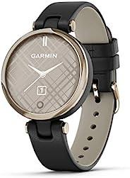 GARMIN 佳明 Lily 小型 GPS 智能手表 触摸屏和图案镜片 浅金色带黑色皮革表带