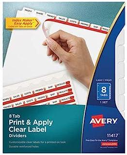 Index Maker 打印和应用透明标签隔板,带白色标签,8 个标签,字母